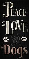 平和愛と犬5x 10Wooded Sign