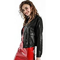 FANKE Women's Moto Biker Jacket-Faux Leather Zip Bomber Biker Jacket -Fashion Long Sleeve Jacket for Autumn and Winter