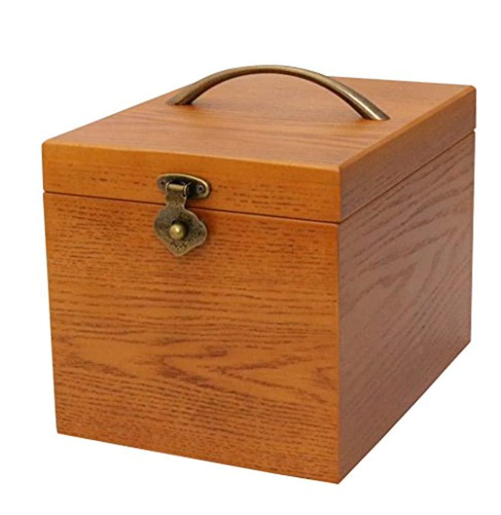 使用法居眠りする懇願するクレエ 木製 メイクボックス 鏡付き化粧品箱 ブラウン 90900044 18×24×17.5