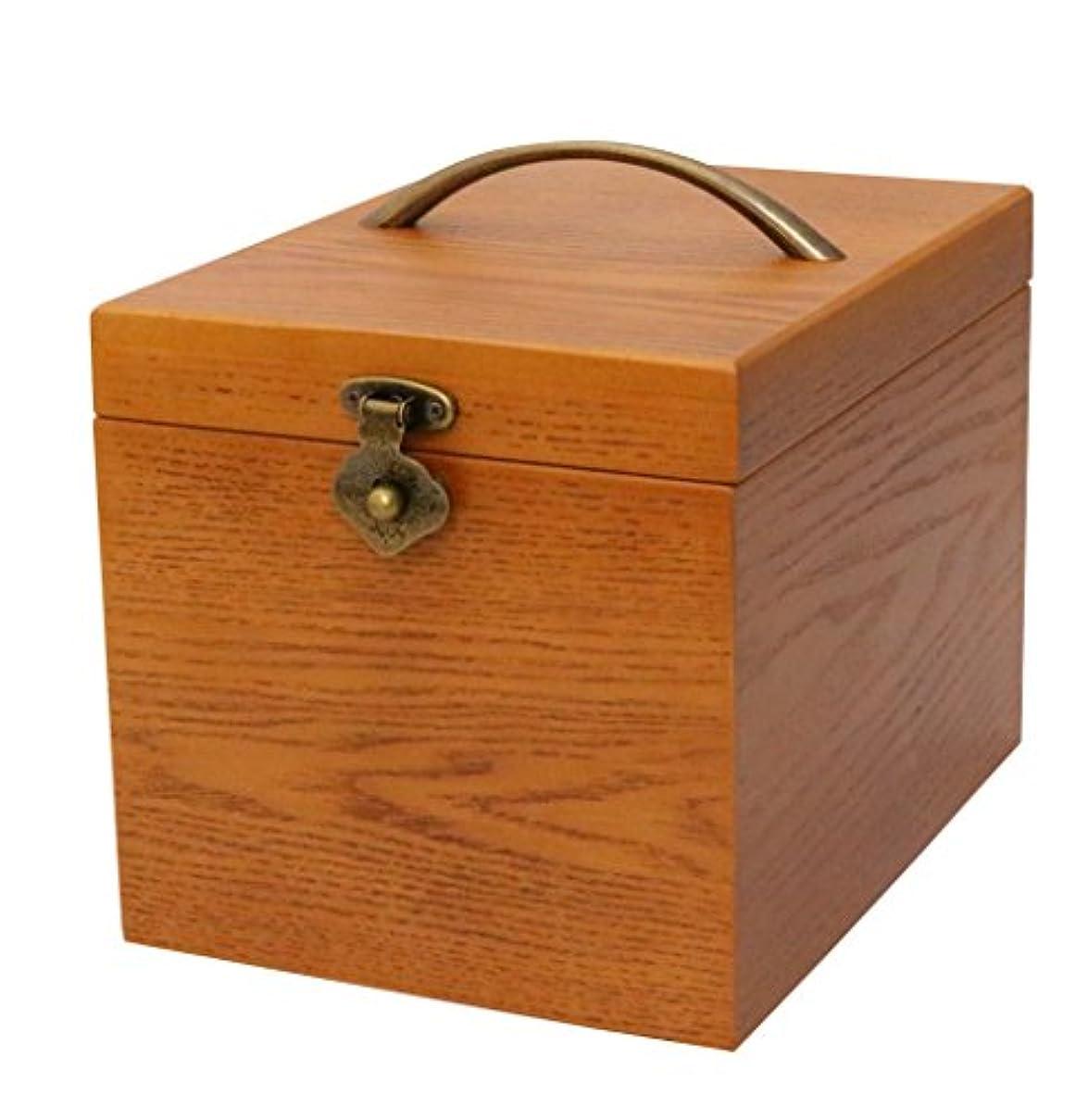 テスピアン細菌貸し手クレエ 木製 メイクボックス 鏡付き化粧品箱 ブラウン 90900044 18×24×17.5