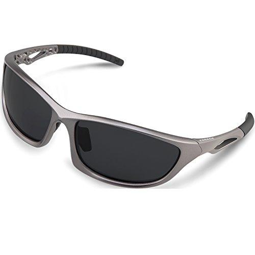 Torege TR90フレーム スポーツサングラス 偏光レンズ 釣り用/自転車 サングラスTRG010 (グレー&ブラック)