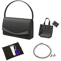 (マーガレット)フォーマル7点セット バッグ・ネックレス・ピアスまたはイヤリング・ふくさ・ハンカチ・数珠・折畳トート ブラックフォーマル レディース 喪服 礼服