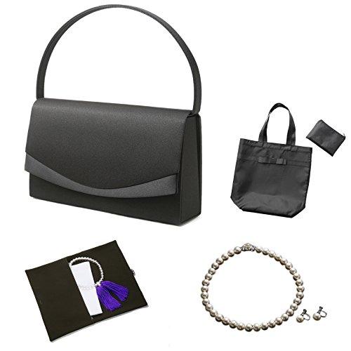 (マーガレット)フォーマル7点セット バッグ・ネックレス・ピアスまたはイヤリング・ふくさ・ハンカチ・数珠・折畳トート