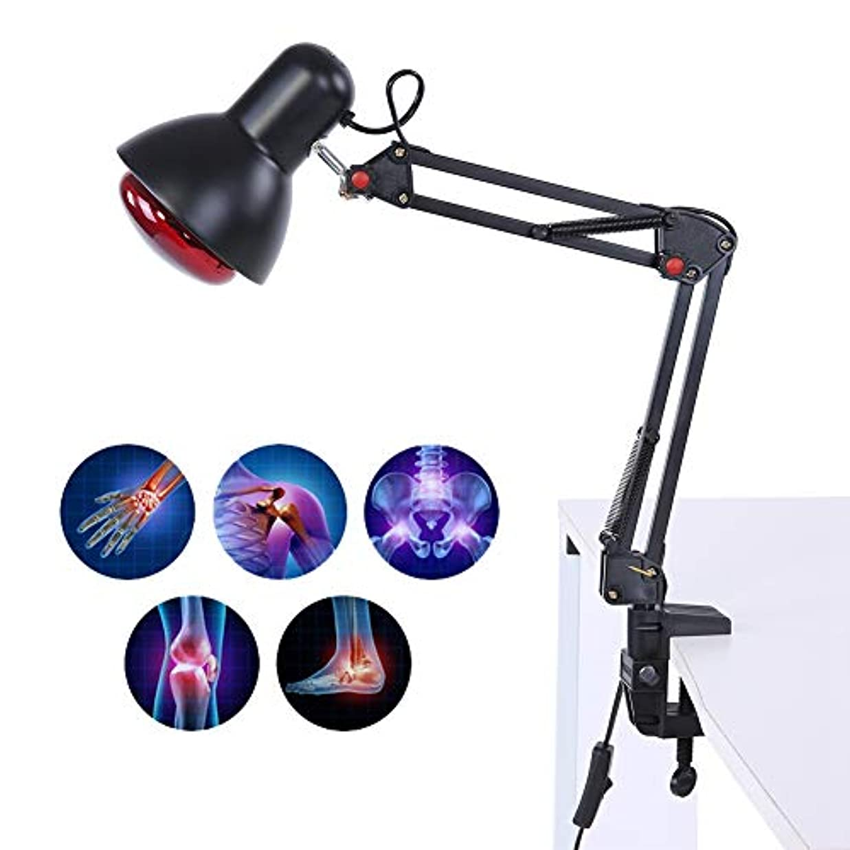 撤退め言葉歌赤外線ヒートマッサージランプ、関節の背中の筋肉痛の軽減のためのローリングホイール/クランプ付き調節可能な温度加熱ライトマッサージ(US-PLUG)