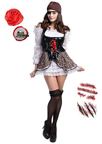[AERITH BLACK] カリブ 女 海賊 コスプレ パイレーツ ハロウィン ディズニー コスプレ レディース フリー サイズ 衣装 5点セット [ドレス・キャップ・眼帯・AERITH BLACKオリジナル2wayバラコサージュ・ボディシール] カリブ 女海賊