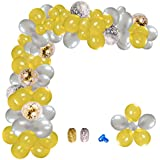 複合パーティーバルーン 飾り付け ラテックスバルーン ゴールドシルバー 紙吹雪バルーン 結婚式パーティー 誕生日パーティー ベビーシャワーパーティー プラムクリップバルーンチェーン接着点リボン付き 224枚セット