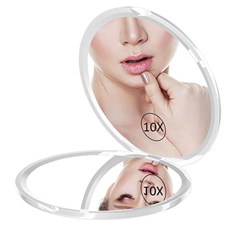 ロビー作成者スマイルコンパクトミラー WEILY 化粧鏡 10倍拡大鏡 折りたたみ鏡 手鏡 両面鏡(ホワイト)