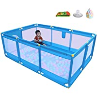 ベビーサークル, 軽量プラスチック製ベイビープレイプレーン、クロールマットと200個のボール、滑り止めの安全な幼児用プレイヤード - ブルー (サイズ さいず : 190 × 128 × 66cm)
