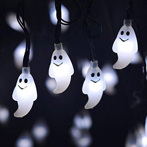 MYJP ソーラーストリングライト イルミネーションライト ゴースト 幽霊 ハロウィン飾り 防水 全長6M 30LED(ホワイト)