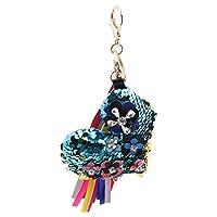 Baoblaze クリスタル ハンドクラフトカラー ペンダント ハンドバッグキーチェーン 財布 飾り 全6カラー - 青