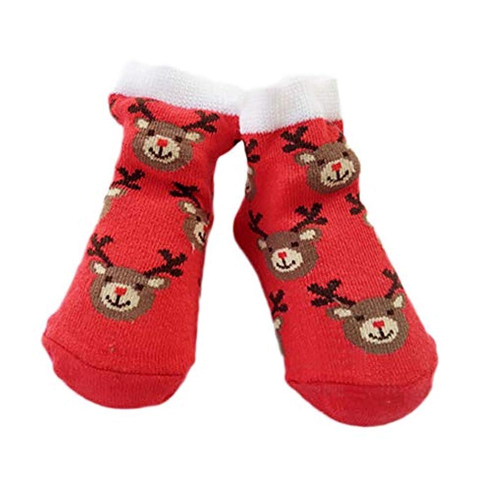 周りリス新着クリスマスベビー ソックス 新生児 靴下 綿 柔らかい ファーストシューズ 幼児ソックスシューズ 秋 冬 あったか 床ソックス ルームソックス 8.5-13cm (レッド)