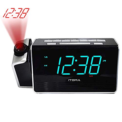 iTOMA Projection Alarm Clock,Digital FM Radio,Dual Alarm with Battery Backup,USB Charging and Snooze,1.4-inch Dimmable LED Display(CKS512)