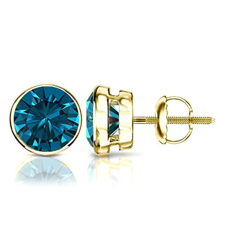 14 Kゴールドラウンドブルーダイヤモンドメンズベゼルスタッドイヤリング( 1 / 4 – 2 ct、ブルー、i1 - i2 )スクリューバック