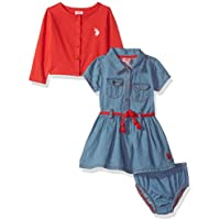 U.S. Polo Assn. Baby Girls' Dress with Sweater Or Jacket