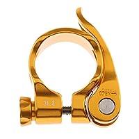 Baosity 高品質 アルミニウム合金 バイク 自転車 シートポスト クランプ クイック リリース シート ポスト クランプ 31.8mm 全6色 - ゴールド