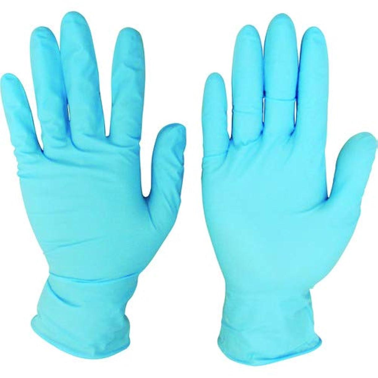 稚魚呼吸する行き当たりばったりニトリルディスポ手袋 青 No.210 パウダーフリー(100枚入)L