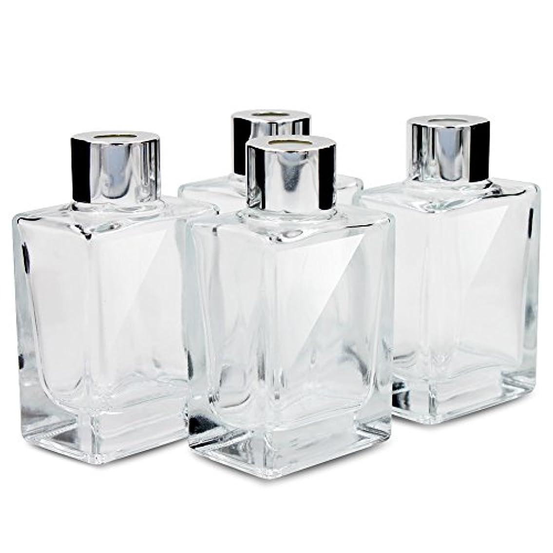 余剰栄光のいじめっ子Feel Fragrance リードディフューザー用 リードディフューザーボトル 容器 透明 蓋付き 4本セット 40ML方形 (GB-40)