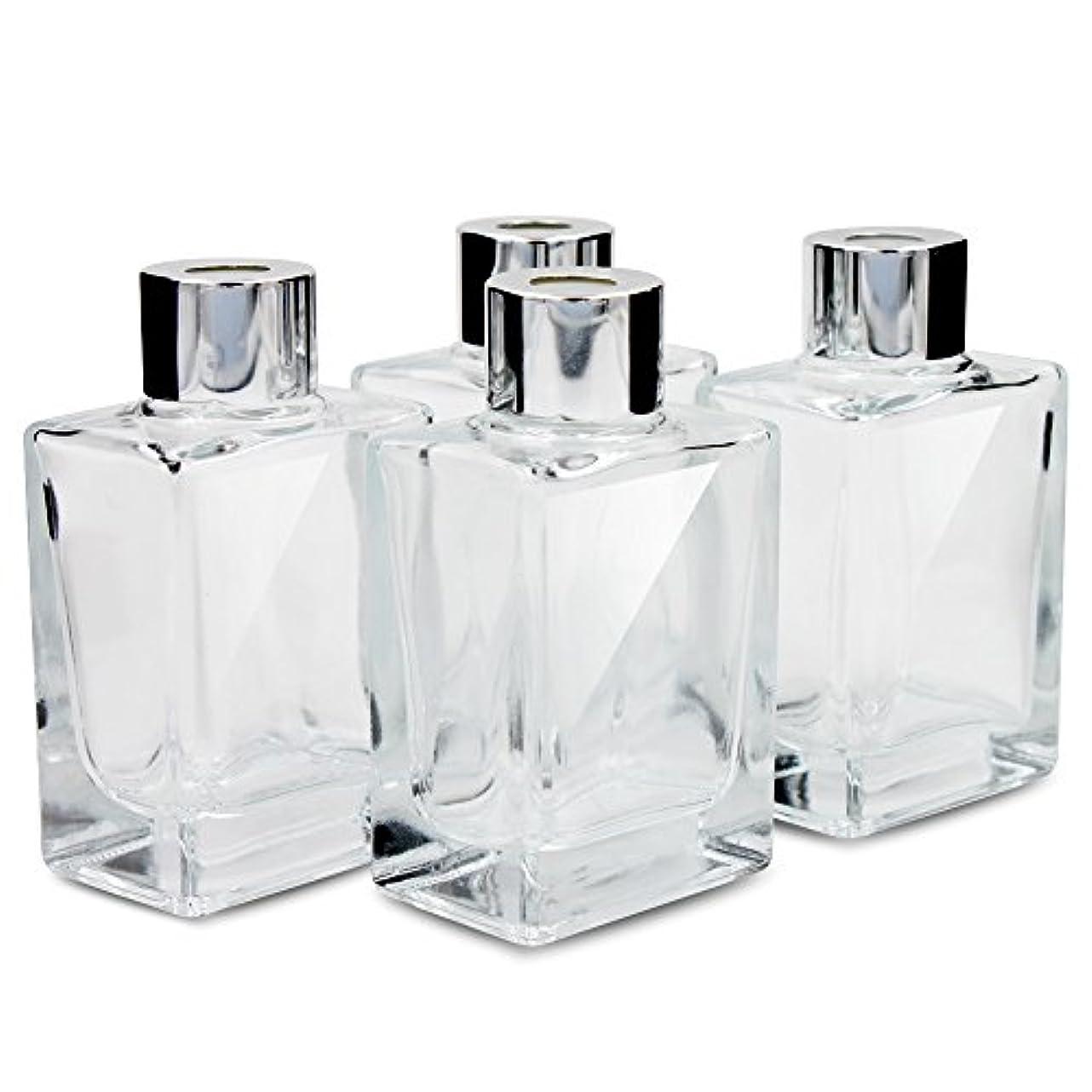 重要な処理する未来Feel Fragrance リードディフューザー用 リードディフューザーボトル 容器 透明 蓋付き 4本セット 40ML方形 (GB-40)