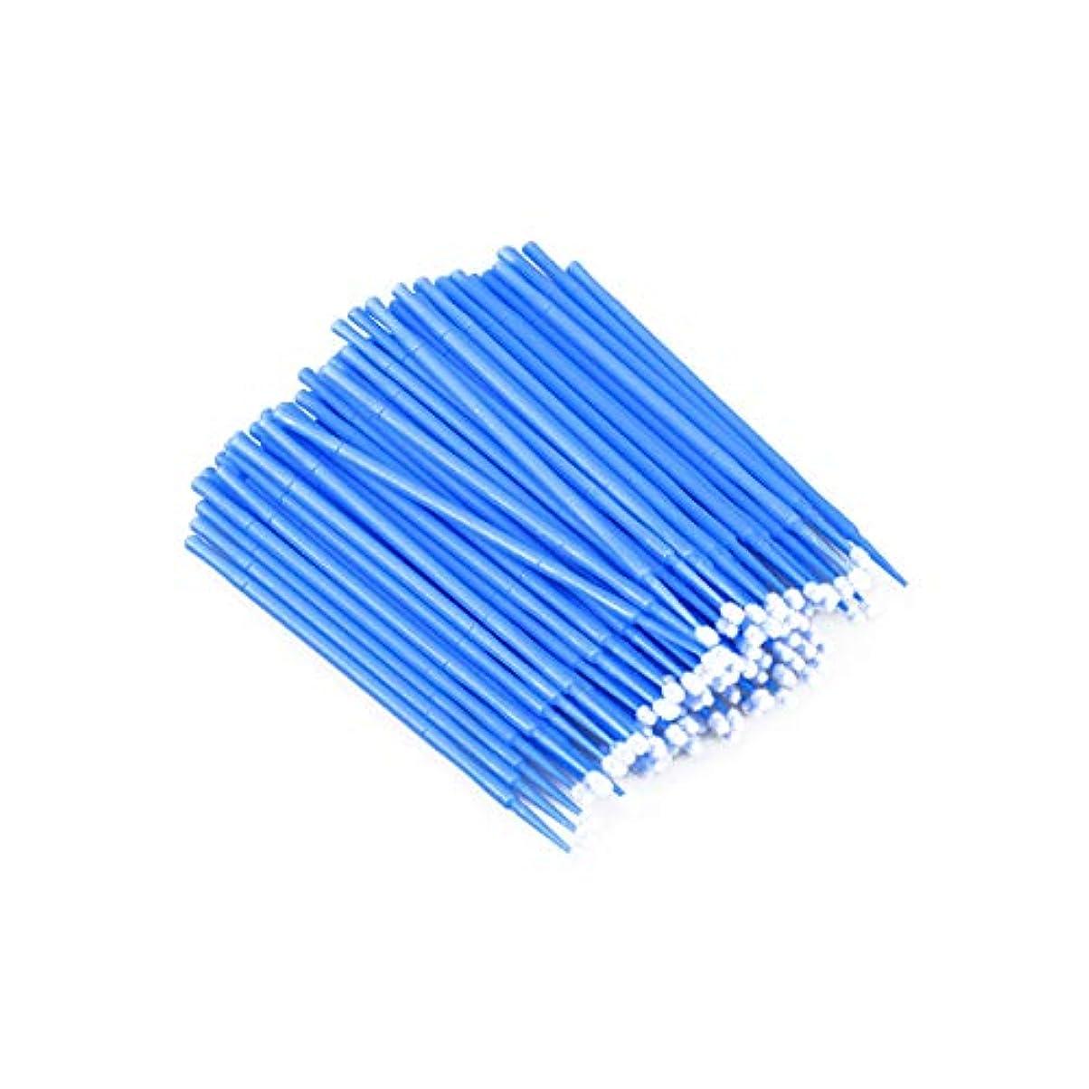 湿原ピア狂乱100個使い捨てマイクロアプリケーターブラシまつげエクステンション綿棒まつげマイクロブラシワンドメイクアップツール(青、ブラシ径2mm)