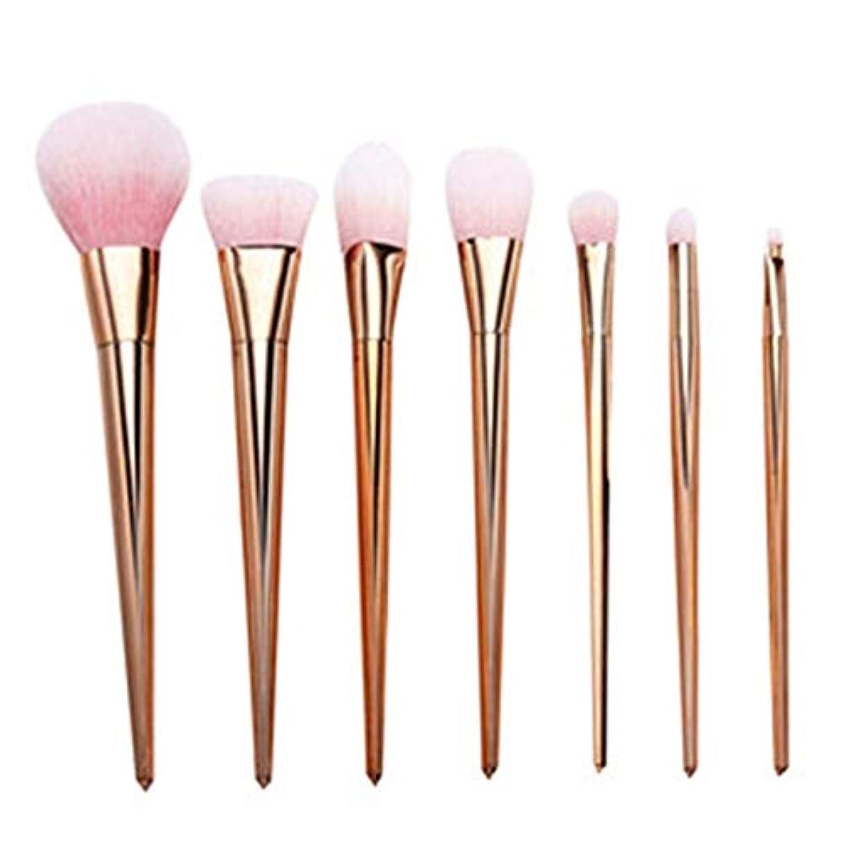 列車道に迷いましたシリーズプロ メイクブラシ 化粧筆 シリーズ 化粧ブラシセット 高級タクロン 超柔らかい 可愛い リップブラシツール 7本セット (Color : Rose Gold)