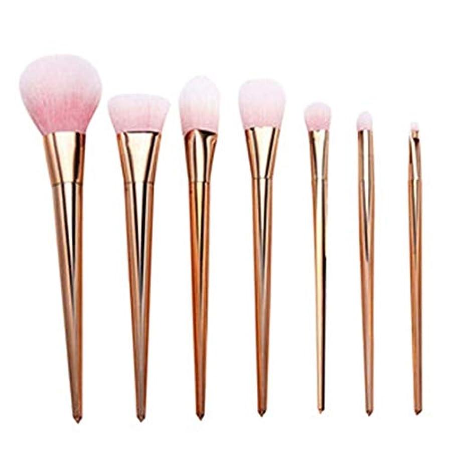 寺院国旗座標プロ メイクブラシ 化粧筆 シリーズ 化粧ブラシセット 高級タクロン 超柔らかい 可愛い リップブラシツール 7本セット (Color : Rose Gold)