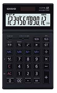 カシオ 実務電卓 12桁 JS-201SK-BK-N ブラック ジャスト・スリムタイプ