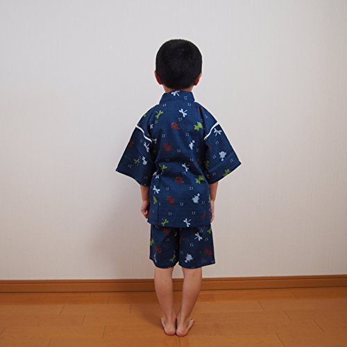 甚平 男の子 シンプル とんぼ カブトムシ 金魚 浴衣 子供 祭り 浴衣 和 100-130 (紺 120cm)