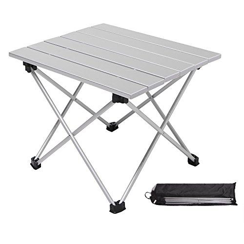 Moon Lence折りたたみテーブル ロールテーブル アルミ製 コンパクト アウトドア キャンプ ハイキング 耐荷重23kg 収納ケースつき シルバー(S/Mサイズ)