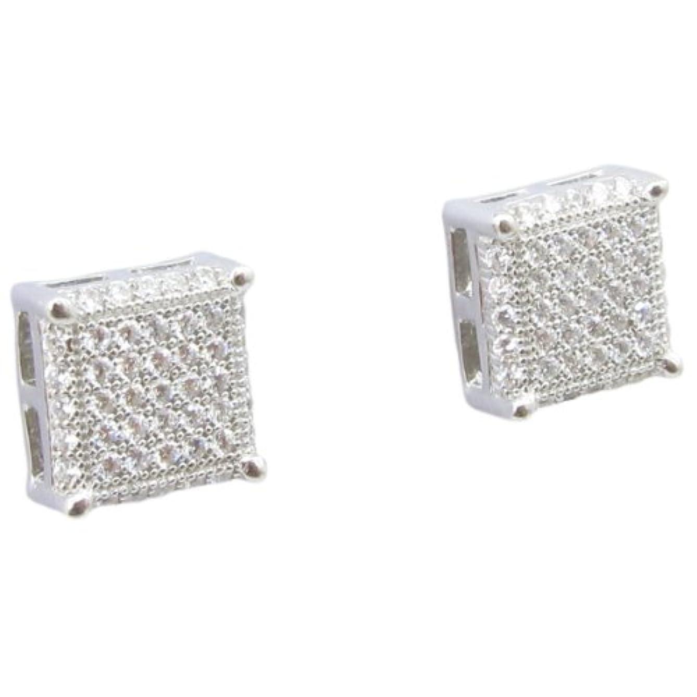 エスカレーター性格観点メンズ。925スターリングシルバーホワイト7行正方形イヤリングmlcz109 4 mm厚8 mm幅、サイズ