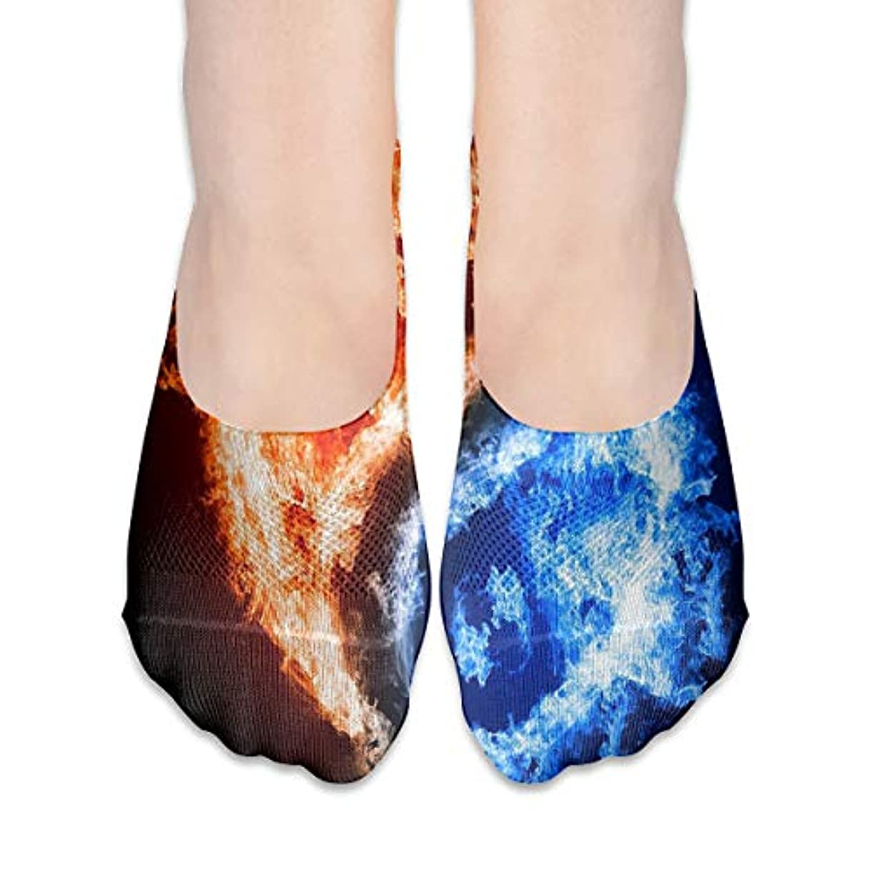 感染する変換する庭園女性のためのショーの靴下はローカットカジュアルソックス滑り止めの氷と火Yinyangをカットしません