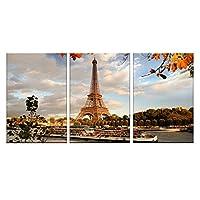 壁飾り アートパネル北欧 インテリア ポスターモダン絵画 壁掛け 飾り秋の風景パリの塔3ピーススーツ飾り 贈り物環境保護(木枠付きの完成品)30x50cmx3