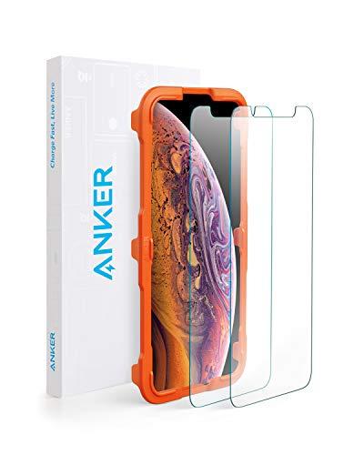 【改善版】【2枚セット / 専用フレーム付属】Anker GlassGuard iPhone XS Max用 強化ガラス液晶保護フィルム 【3D Touch対応 / 硬度9H / 簡単貼付】