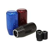 JINGLINGKJ カーボンシフトノブ ギアノブ カーボン製 AT MT 車用 国産車に対応 汎用 カスタム 3種類アダプター付き (赤, 72mm)