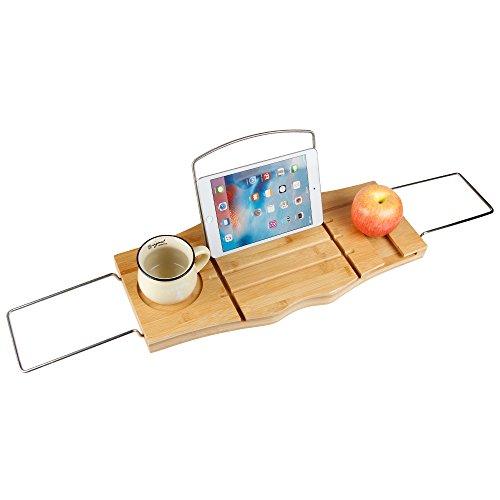 (Bidear)お風呂用品 バスタブトレー バステーブル ブックスタンド 伸縮式 天然竹製 お風呂雑貨置き台 収納 バスタブ用 浴室用ラック