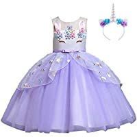 OBEEII Unicorn Princess Costume Flower Embroidery Tutu Dress Pageant Party Birthday Stage Performance Fancy Dress up Role Play Headband Outfits