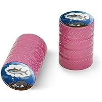 オートバイ自転車バイクタイヤリムホイールアルミバルブステムキャップ - ピンク猫は魚を夢見る