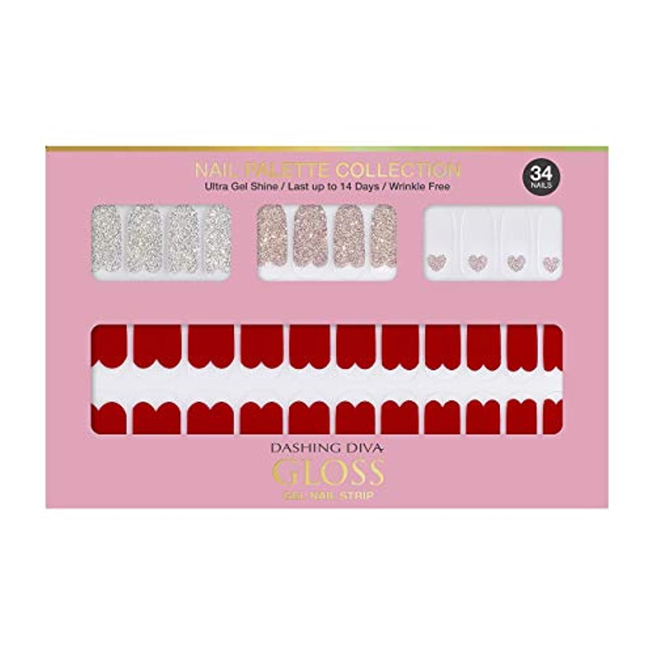 掃く思春期うまダッシングディバ グロスジェル ネイルストリップ DASHING DIVA Gloss Gel Nail Strip DGNP05-DURY+ オリジナルジェル ネイルシール Rosy #05 Red Shorts