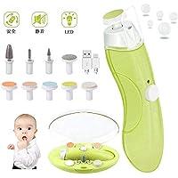 爪やすり 電動 赤ちゃん ネイルケア 電動ネイルケア 電動爪切り USB充電 超静音 LEDライト搭載 携帯ケー ス 10種類付き 赤ちゃん ベビー 男女兼用 緑