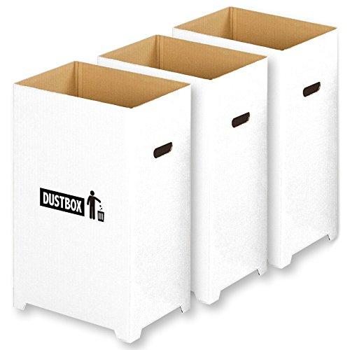 【Amazon.co.jp限定】 撥水加工 組み立て簡単 足つき 汚れに強い おしゃれで スリム な ダンボール ダストボックス 分別 ゴミ箱 3個組 ( 45リットル ゴミ袋 対応)