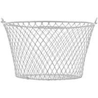 小さな金属製長方形 楕円形 丸型ワイヤーバスケット ハンドル付き ブラックとホワイト 4個セット