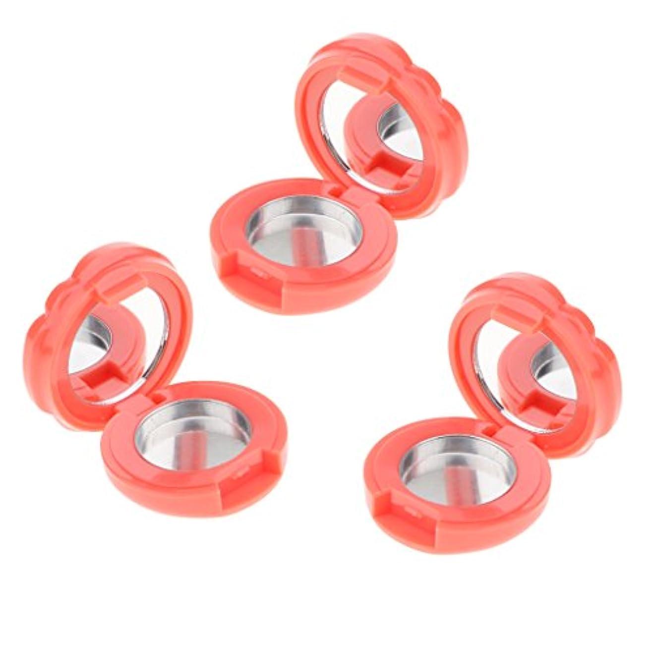 ブラインド建物意図的3ピース/セット空のプラスチックリップグロス口紅アイシャドーパウダーdiy化粧ケースアイズフェイシャルパウダー収納パレット付きミラー - グレープフルーツ色