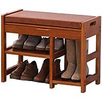 TLMY ヨーロッパの靴のベンチの靴のストレージの木のテストシューズのスツールモダンミニマリストの靴 靴箱 (色 : Water honey color, サイズ さいず : 54 * 30 * 49CM)