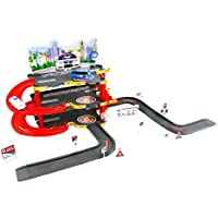 New style Police parking garage play toy with pretend city view - 3 floor structure with an elevator and ramps going from floor to floor - great gift set