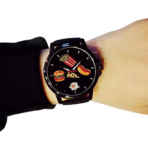 ZooooM ファーストフード 風 アナログ 腕 時計 食べ物 イラスト ユニーク デザイン 文字盤 ウォッチ ファッション アクセサリー シンプル 文字 おもしろ 面白 カジュアル メンズ レディース 男性 女性 男 女 兼 用 ダサい ダサ 可愛い かわいい (ブラック) ZM-FASUDOKE-BK
