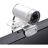 Cimkiz USB 2.0 HDウェブカメラ、MICクリップオン360度のデスクトップ用SkypeコンピュータPCラップトップ用Webカム (銀)