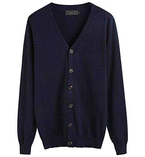 (ハバー)Habor カーディガン メンズ ニット Vネック 長袖 綿 ベーシック 無地 薄手 セーター 3XL