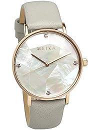 [メイカ]MEIKA 腕時計 36mm パール文字盤 ファッション グレーベルト レディース