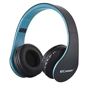 Ecandy ステレオヘッドホンワイヤレス Bluetooth3.0+ EDR マイク付MP3プレーヤー/MicroSD/TF 音楽/FMラジオ 4in1 多機能 (ブルー)