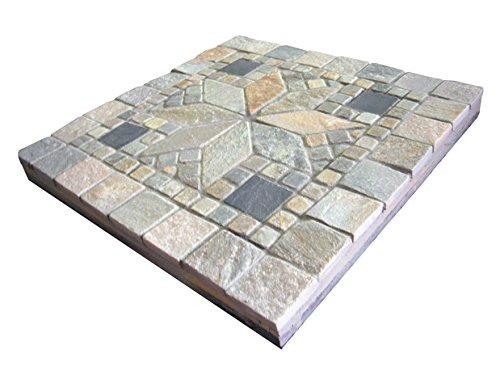 ステップストーン 踏み石 敷石 モザイク柄の花 40cm角 飛び石 飛石 天然石材 コンクリート平板