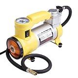 [PowerWings] DC12V コンパクト 車用空気入れ エアーコンプレッサー 電動ポンプ 軽量 小型 [黄色い]